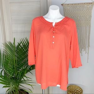 J. Jill | Popover Henley Coral 3/4 Sleeve Blouse